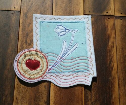 Patch Iron-On Snowdrop Postage Stamp Embroidered Applique Patch