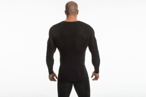 Black DEMIG bamboo long sleeve shirt Vneck for men