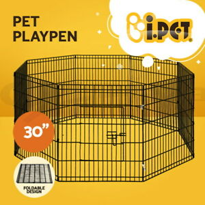 """i.Pet 30"""" Pet Dog Playpen Puppy Exercise Cage Enclosure Fence Play Pen Metal"""