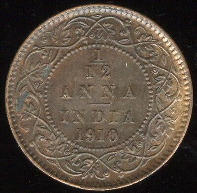 Adaptable British India Edward Copper Twelfth Anna Error Coin 1910 Au Well-toned Rare To Ensure Smooth Transmission