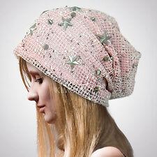 Women Chic BAGGY BEANIE STAR Crochet slouchy Hat skull Deb Beret Studed Metal