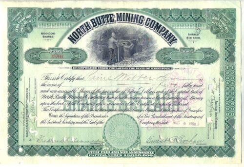 North Butte Mining Company Stock Certificate Green Minnesota