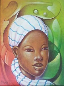 Signed-M-RINVIL-Portrait-of-a-Woman-Haitian-Contemporary-Art-Painting-Haiti