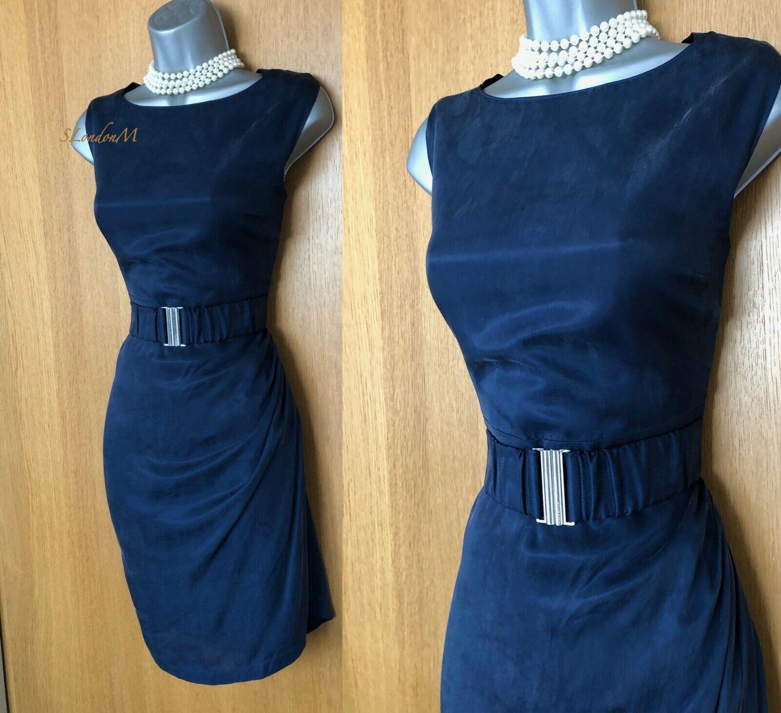 Karen Millen UK 12 Navy Cupro Frill Detail Belted Any Occasion Knee Length Dress