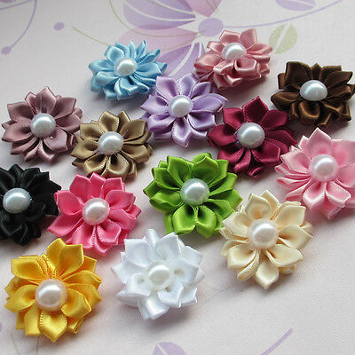 E234 Lots  Satin Ribbon Flowers Bows W/Peal Rose Appliques 35mm 20/100pcs