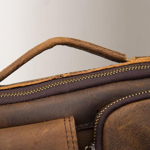 Leaokuu Men Crazy Horse Genuine Leather Crossbody Messenger Shoulder Bag Brown