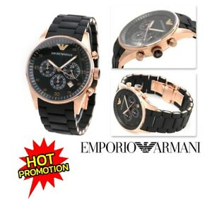 NEW-GENUINE-EMPORIO-ARMANI-AR5905-ROSE-GOLD-BLACK-SILICONE-MENS-WATCH-UK