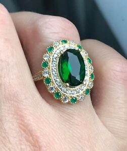 925-Sterling-Silver-Handmade-Authetic-Turkish-Emerald-Ladies-Ring-Size-7-9