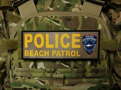 3x8 AMITY ISLAND POLICE BEACH PATROL Patch Tan JAWS