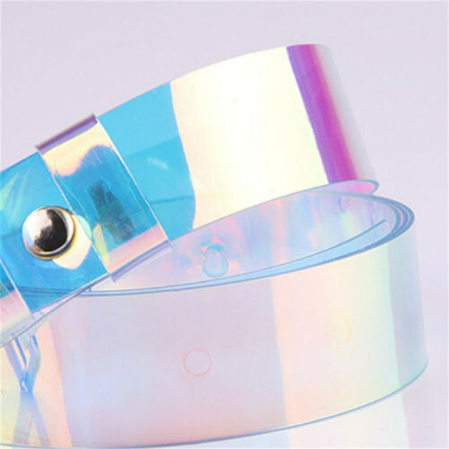 Women Fashion Laser Holographic Punk Waist Belt Pin Buckle Rainbow Waistband New