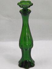 Emerald Green Pressed Art Glass Ribbed Perfume Bottle Art Deco Style Avon 1971