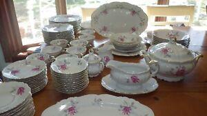 Vintage-Fine-China-Dinnerware-Stratford-by-EDELSTEIN-Germany-22kt-gold-87pcs