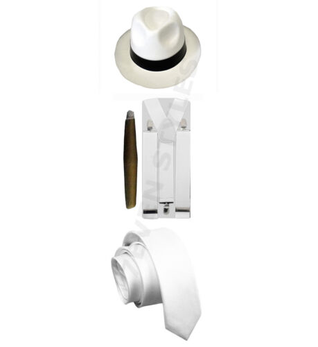 MENS GANGSTER PIMP HAT BRACES TIE CIGAR 1920/'S MAFIA ADULT FANCY DRESS COSTUME