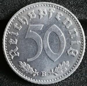 50 Pfennig Stück 1939 B Deutsches Reich Reichsadler Mit Hk Im Kranz
