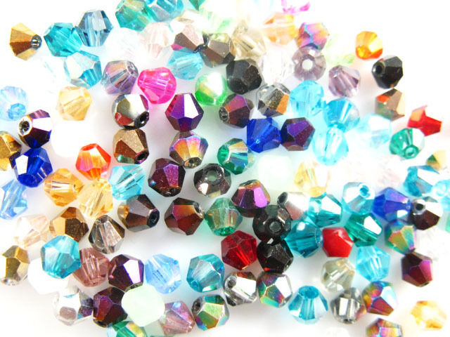 100Pcs Glass Crystal Jewelery Finding Bicone Spacer Beads 4mm 55Color U Pick
