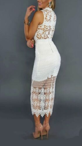 NEW Trendy Crochet Lace Bodycon Cocktail Clubwear Pencil midi Dress Size BD229