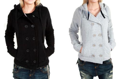 VSCT Double Breasted Sweat Jacke grey black Sweatjacke Hoodie Kapuze Mantel Coat