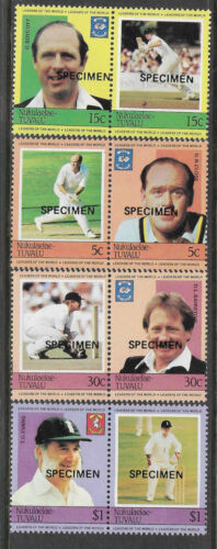 TUVALU Nukulaelae 1984 CRICKETERS Overprinted SPECIMEN 4 PairsSet 8 Values MNH