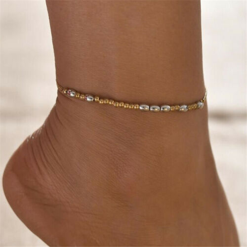Bohemia Bead Anklet For Women Fashion Gold Silver Rice Beads Foot Chain N7