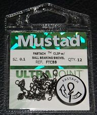 12 Pack Mustad Ultra Point Fastach Clip Ball Bearing Swivel FTCBB-0.1 Size 0.1