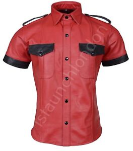 PREMIUM-Mens-Hot-Genuine-Real-RED-Sheep-LEATHER-Police-Uniform-Shirt-BLUF-Gay