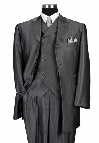 Men/'s 3 Piece Luxurious Suits Herring Bone Striped Suit Gray Black Cream 38R~60R