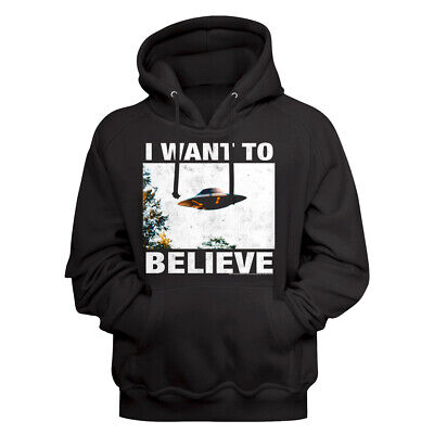 X Files I Want to Believe Flying Saucer Hoodie UFO Mulder Scully FBI Special Top