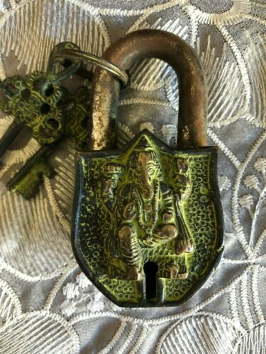 Antique Style Handmade Brass with  Keys Small Ganesh Lock