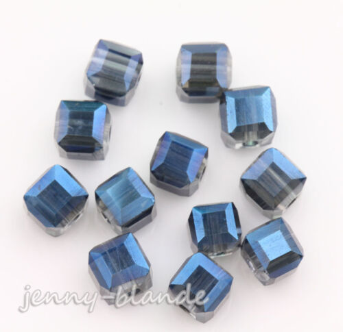 50//100pcs Faceted Cube Glass Crystal Charm Finding Loose Spacer Bead DIY Decor