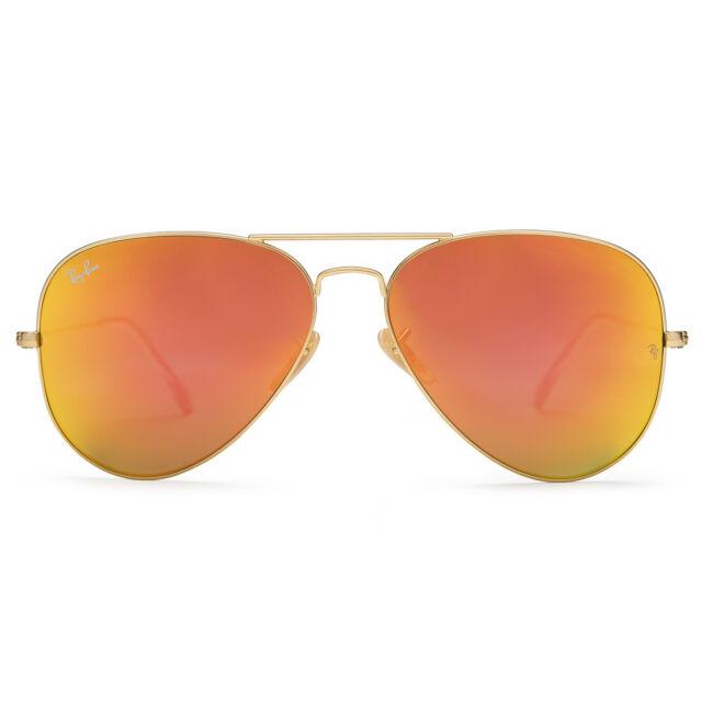 4a02b72fe5e Ray-Ban Large Aviator Flash Orange Mirror Matte Gold Frame Rb3025 112 69  62mm