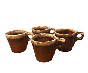 Vintage Oven Proof Brown Drip Glazed Coffee Mugs USA Pottery Set Of 4 MCM