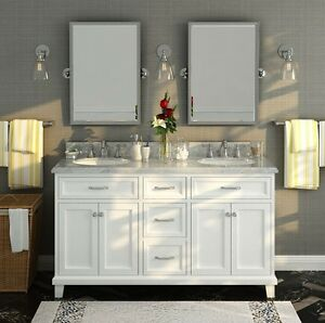 Sink Vanity Unit Marble Top Large Bathroom Furniture Double Twin White Cabine