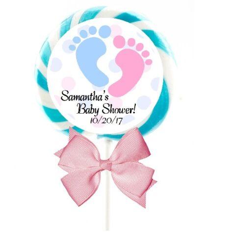 "BLUE//PINK FOOTPRINTS BABY SHOWER LOLLIPOP CUSTOM STICKERS FAVORS 1.5/"" 2/"" 2.5/"""