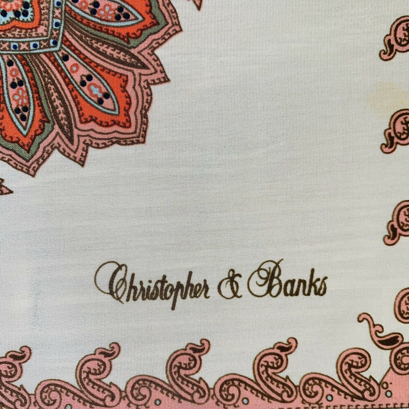 Christopher & Banks Square Paisley Beige Scarf 34… - image 2