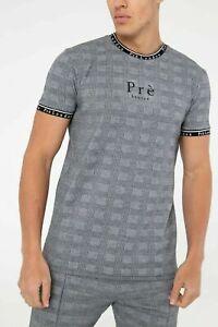 PRE-LONDON-Mens-Designer-Crew-Casual-Cotton-Fashion-Power-Check-T-Shirt-Tee-Top