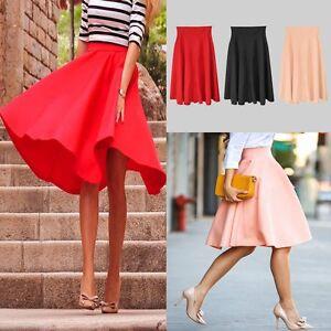 Image is loading Women-Flared-Knee-Length-Skater-Long-Skirt-Ladies- 00b5c9d55
