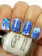 Nail Art Water Decals Wraps Blue White Porcelain Flowers UV Tips Decoration 1619