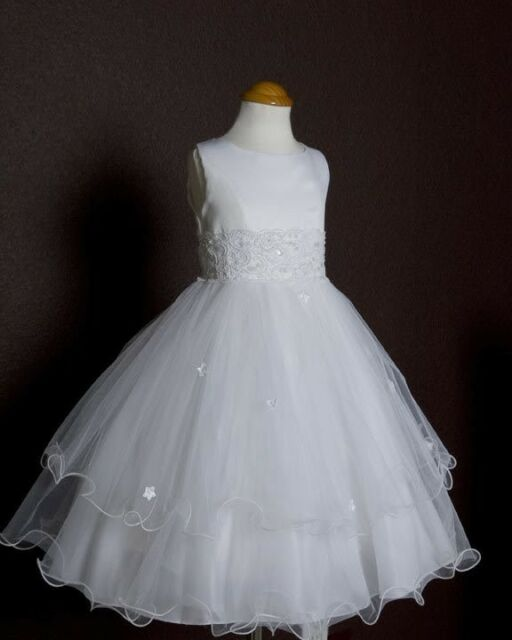 White Holy Communion Baptism Church Wedding Flower Girls Dresses Triple Layered