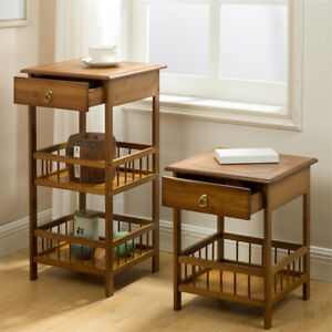 Bamboo Bedside Table with Drawer and Storage Shelf Sofa Side End Table 2//3 Tiers