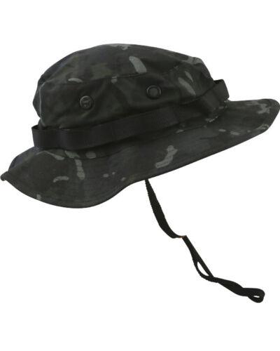 BLACK BTP STYLE CAMOUFLAGED ARMY STYLE WIDE BRIMMED BOONIE HAT SUN HAT AIRSOFT