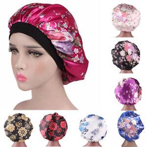 Womens-Ladies-Satin-Bonnet-Cap-Night-Sleep-Hair-Head-Cover-Wide-Band-Elastic-Hat