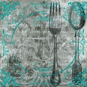 20-Servietten-034-HAVE-A-GOOD-LUNCH-034-33x33-Napkins-Besteck-Ornamente-Antik