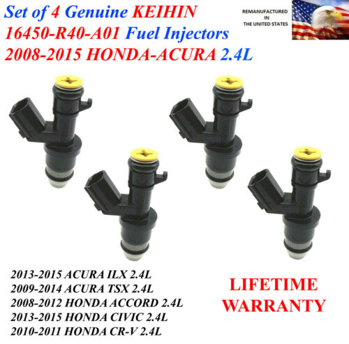 Set of 4 Honda OEM Keihin Fuel Injectors For 2013-2015 Honda CIVIC 2.4L