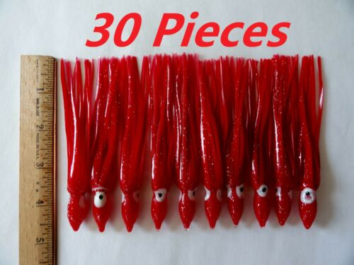 "10-100 pcs 4.75/"" Red Hoochies Squid Skirts Octopus Saltwater Fishing Lures"
