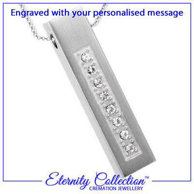 NEW ECN27E Cremation Jewellery /'Sparkling Bar/' Necklace with Engraving