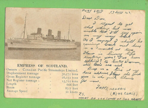 #N. 1947 FORCES MAIL MILITARY POSTCARD TO AUSTRALIA, EMPRESS OF SCOTLAND