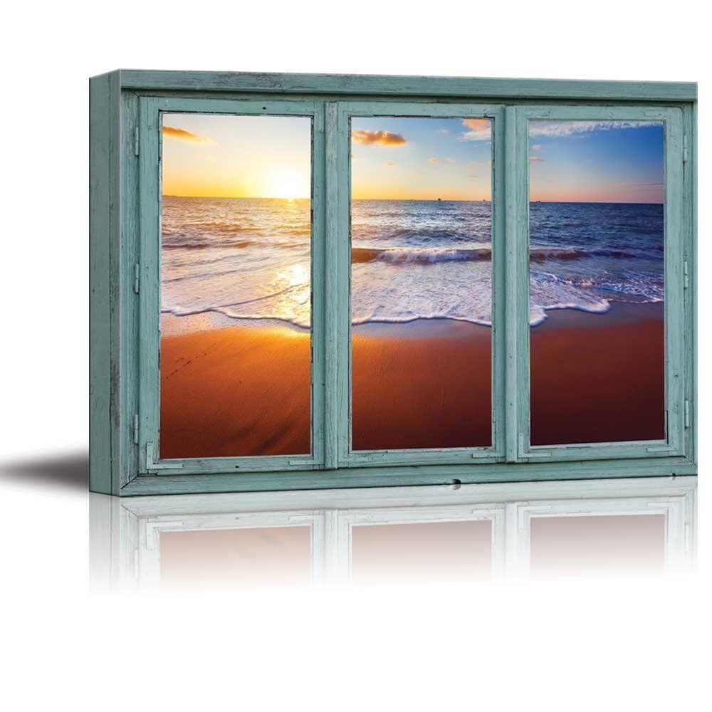 Blau waves meet Orange sand during a sunset - Canvas Art Home Decor - 24x36