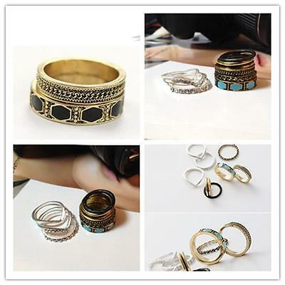 8pcs/Set  women Punk Crystal On Finger Joint Above Knuckle Midi Ring Chic Rings