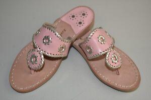 d681770b7ab692 NEW Jack Rogers Palm Beach Platinum Gold Flat Sandals Pretty Blush ...