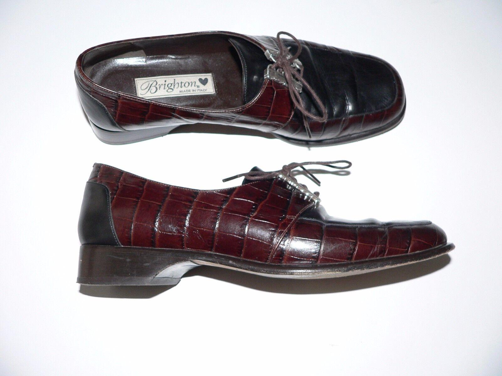 BRIGHTON 7M leather lace-up oxfords chaussures  marron noir moc croc argent